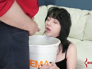 Submissive whore has to drink urine and to swept off one's feet dominant bastard's ass