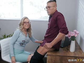 blonde of age Nina Hartley is reachable for hard penis after a long day