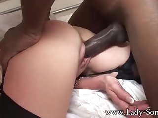 Brit COUGAR gets poked by BIG BLACK COCK while Cuck witnesses