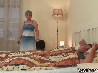 Wifes old mother jumps unaffected by my cock!