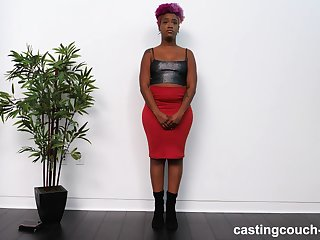 Mediocre curvy ebony Alexandria sucks a black dick on the casting couch