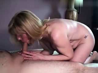 Grown up blonde granny doggystyle fucked