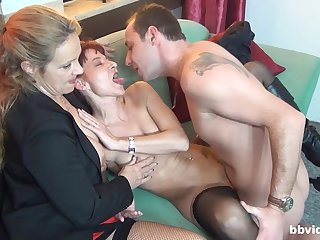 Impressive threesome sexual intercourse with two matures addicted to cock