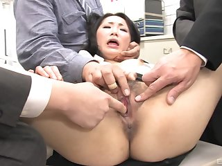 Ai Mizushima fingered and fucked by multiple Asian guys