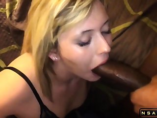 Attractive blonde milf takes a huge black weasel words in her mouth