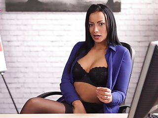 Slutty uncle in stockings and lingerie Kelli Smith shows striptease in the office