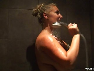 Chunky fat tits blonde wife Krystal takes a shower and masturbates