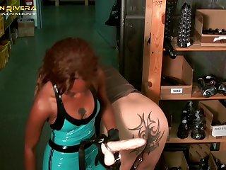 Carmen Rivera and her friend use a strapon to fuck submissive dude