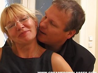 Adult slut Sandra AA with saggy tits fucked by her younger neighbor