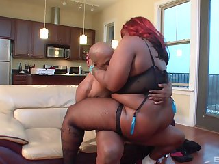 BBW ebony in insane hardcore home sex with economize on
