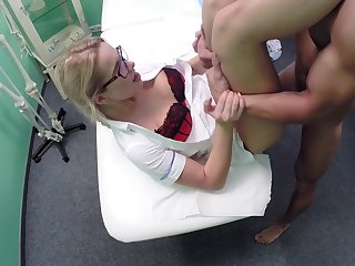 Slutty blonde nurse works her magic on a male patient in collect summon