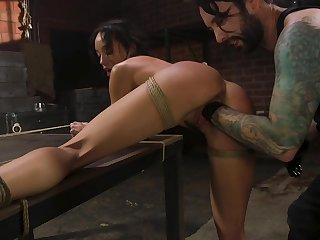 Utter subjugation slutty black sweetie Alexis Tae is brutally fisted tonight