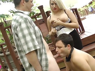 Bisexual husband sucking a dick relating to his busty wife Lacie James