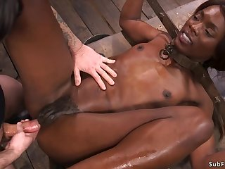 Ebony slave is butt fuck plugged added to fornicateed