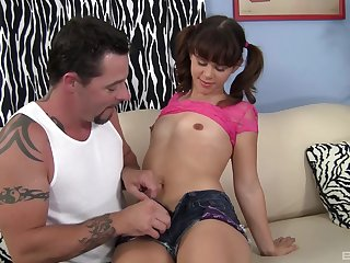 Skinny amateur Elizabeth Bentley with pigtails rides a learn of