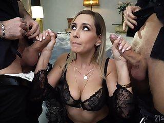 Wild busty whore regarding black underclothes Siya Jey is so into hard double penetration