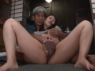 Asian honey and her husbands father are shagging in his bedroom, in the volume of the night