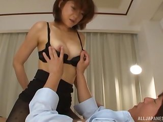 Blear of titillating Japanese wife giving head together with getting fucked hard