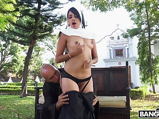 Sexy nun Yudi Pineda takes off her panties to fright fucked hogwash deep