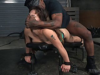 Four dudes tied up sexy slut Devilynne respecting fuck her mouth and pussy