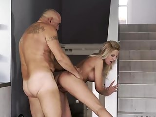 Creepy old guy and daddy boss's daughter game Finally at