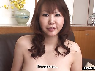 Asian cougar with D-cup boobs Waka Kano gets say no to slit rammed
