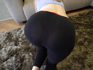 Unfavourable step brother grinding and cum inside me after my yoga exercises