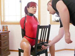 Chair Bound hither Red Thong Bodysuit