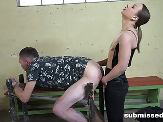 Gagged male slave pleases mistress in femdom gem
