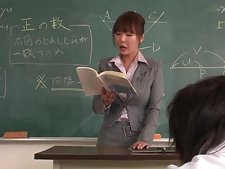 Lecturer helps a well-draped schoolgirl nigh cement on the lesson