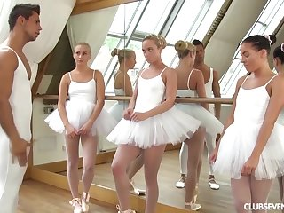 several youthfull lil' ballerinas patch manmeat of teacher after exercise